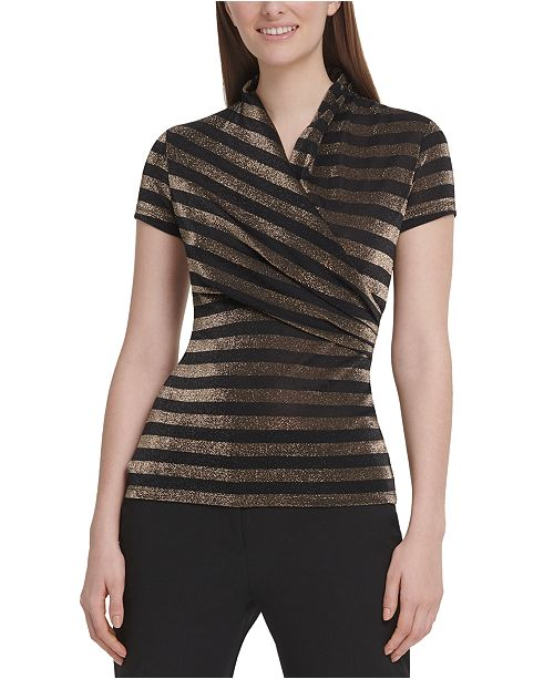DKNY Metallic Striped Surplice-Neck Top