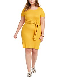 Trendy Plus Size Juniors' Tie-Waist Dress
