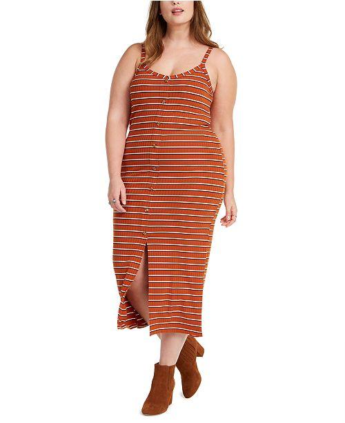 Planet Gold Trendy Plus Size Juniors' Button-Front Midi Dress