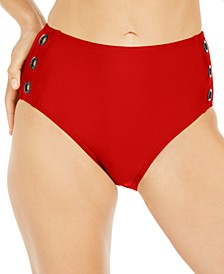 Grommet-Trim High-Waist Bikini Bottoms