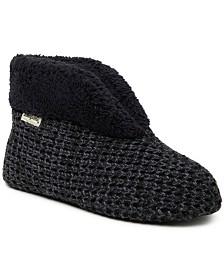 Dearfoams Women's Textured Knit Bootie Slipper, Online Only