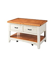 Wooden Coffee Table with Drawers and Casters