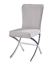 Velvet Upholstered Metal Side Chair with X Style Base, Set of Two