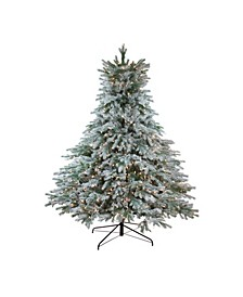7.5' Pre-Lit Flocked Jasper Balsam Fir Artificial Christmas Tree - Clear Lights