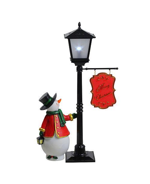 "Northlight 14.5"" Mini Pre-lit Street Lamp and Snowman Christmas Table Top Display"