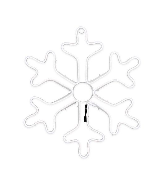 """Northlight 18"""" Neon Style LED Lighted White Snowflake Christmas Window Silhouette Decoration"""