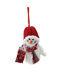 Smiling Fuzzy Snowman with Knit Hat and Scarf Christmas Figure ornament