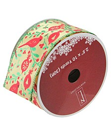"""Honey Mustard Yellow with Red Cardinals Wired Christmas Craft Ribbon 2.5"""" x 10 Yards"""