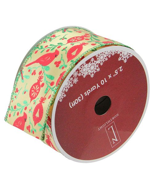 """Northlight Honey Mustard Yellow with Red Cardinals Wired Christmas Craft Ribbon 2.5"""" x 10 Yards"""