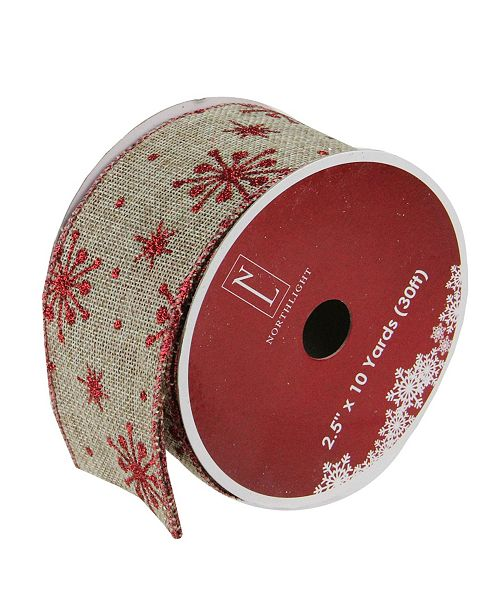 "Northlight Red Snowflake and Beige Burlap Wired Christmas Craft Ribbon 2.5"" x 10 Yards"