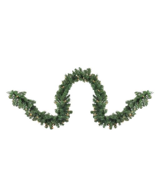 Northlight 9' Pre-Lit Deluxe Windsor Green Pine Christmas Garland - Clear Lights