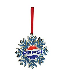 "3.5"" Silver Plated Pepsi Logo Snowflake Christmas Ornament with European Crystals"
