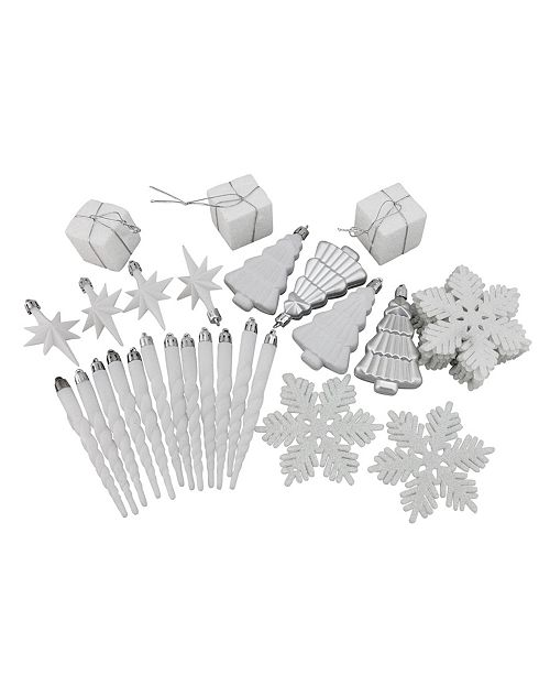 Northlight 125Ct Winter White and Silver-Tone Splendor Shatterproof 4-Finish Christmas ornaments