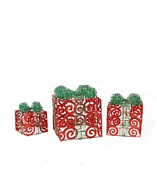 Set of 3 Prelit Sparkling Red Swirl Glitter Gift Boxes Christmas Outdoor Decorations