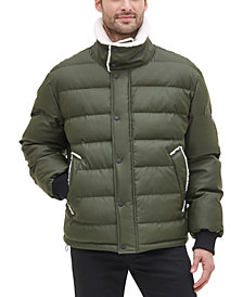 DKNY Men's Sherpa Trimmed Military Bomber Puffer Jacket, Created For Macy's