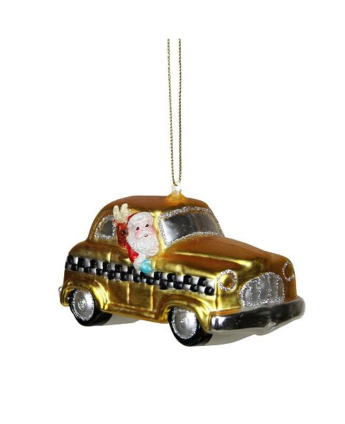 "Northlight 4.25"" Glass Santa in Yellow Silver and Black Checkered Taxi Cab Christmas Ornament"