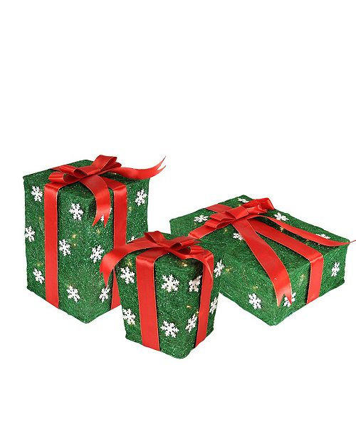 Northlight Set of 3 Green Snowflake Sisal Gift Boxes Lighted Christmas Outdoor Decorations