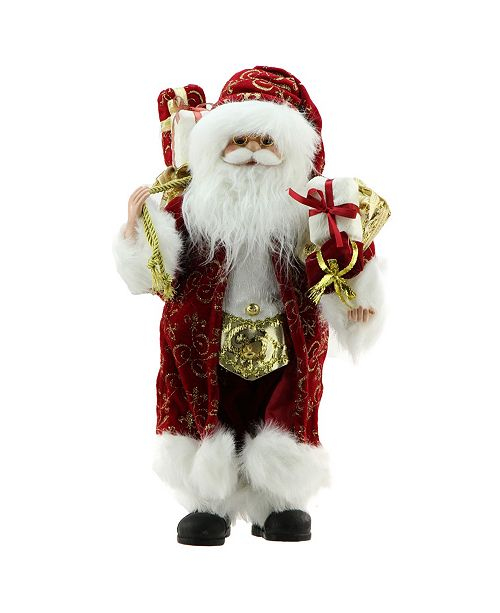 "Northlight 16"" Standing Santa Claus in Red and Gold Robe with Gifts Christmas Figure"