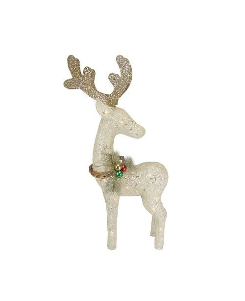 "Northlight 37"" Lighted Sisal Standing Reindeer Christmas Outdoor Decoration"