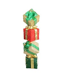 "45"" Lighted Sisal Gift Box Tower Christmas Yard Art Decoration"