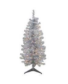 4' Pre-Lit Slim Silver Artificial Tinsel Christmas Tree - Clear Lights