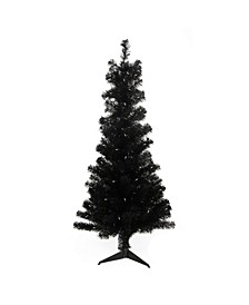 4' Pre-Lit Slim Black Artificial Tinsel Christmas Tree- Clear Lights