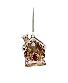 "3.75"" Glittered Gingerbread House Glass Christmas Ornament"