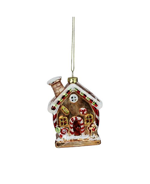 """Northlight 3.75"""" Glittered Gingerbread House Glass Christmas Ornament"""