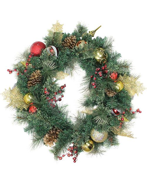 """Northlight 30"""" Green Foliage and Assorted Ornaments Deluxe Wreath - Unlit"""