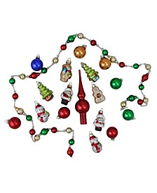 18-Piece Beaded Garland Mini Tree Topper and Figure Christmas ornament Set
