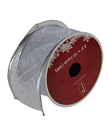 "Pack of 12 Shimmering Silver Diamond Wired Christmas Craft Ribbon Spools - 2.5"" x 120 Yards Total"