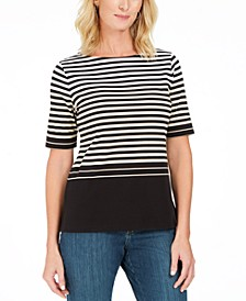 Petite Striped Boat-Neck Top, Created For Macy's