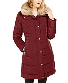 Petite Hooded Down Puffer Coat With Faux-Fur Trim