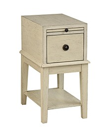 Ivory One Drawer Chairside Table, Quick Ship