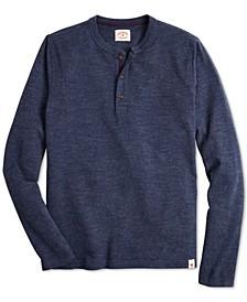 Men's Red Fleece Knit Henley