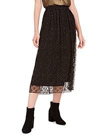 Lace-Overlay Midi Skirt, Created For Macy's