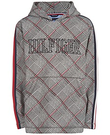 Big Boys Carlos Oversized Plaid Fleece Logo Hoodie