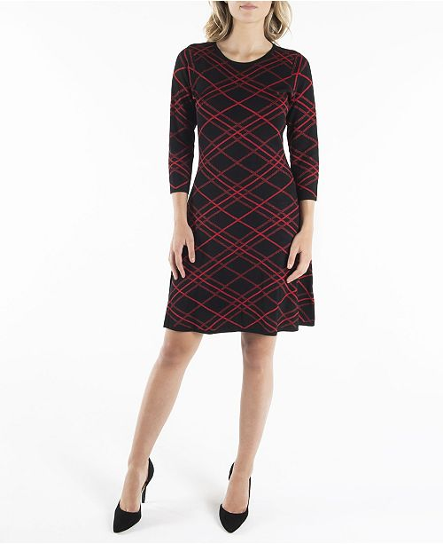 nanette Nanette Lepore Nanette Lepore 3/4 Sleeve Jewel Neckline Fit and Flare Sweater Dress