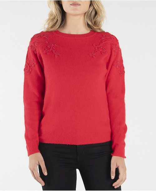 nanette Nanette Lepore Long Sleeve Sweater with Embroidery Details