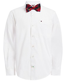 Little Boys 2-Pc. Miles Poplin Dress Shirt & Logo Stripe Bow Tie Set