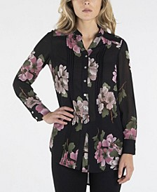 Nanette Lepore Long Sleeve Button Down Printed Shirt with Mandarin Collar