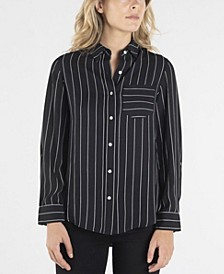 Long Sleeve Striped Button Down with Single Breast Pocket