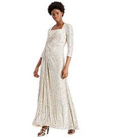 Square-Neck Sequined Twist-Front Gown