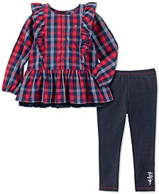 Little Girls 2-Pc. Ruffled Plaid Top & Leggings Set