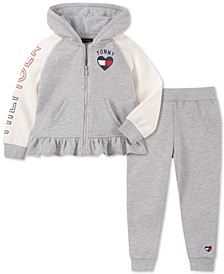 Toddler Girls 2-Pc. Ruffled Hoodie & Fleece Jogger Pants Set