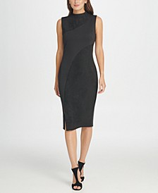 Mock Neck Seamed Suede Sheath Dress