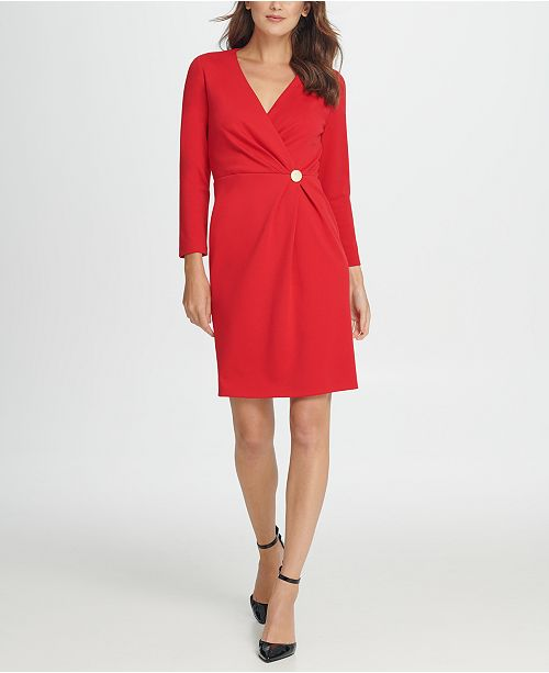 DKNY V-Neck Gold Button Coat Dress