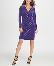Velvet Side Ruche Sheath Dress