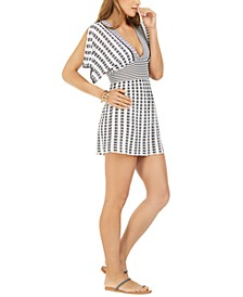 Striped Split-Sleeve Cover-Up Tunic