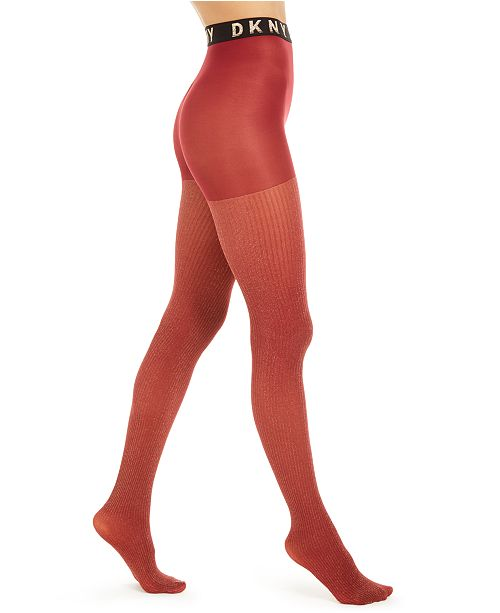 DKNY Women's Lurex® Ribbed Control-Top Tights